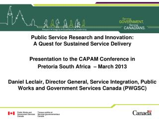 Public Service Research and Innovation: A Quest for Sustained Service Delivery