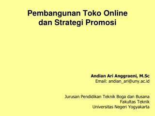 Pembangunan  Toko  Online  dan Strategi Promosi