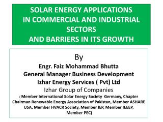 SOLAR ENERGY APPLICATIONS  IN COMMERCIAL AND INDUSTRIAL SECTORS  AND BARRIERS IN ITS GROWTH