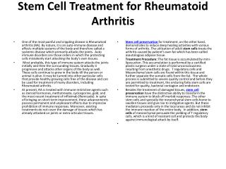 Stem Cell Treatment for Rheumatoid Arthritis