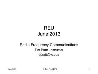 REU June 2013