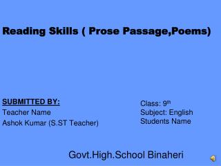 SUBMITTED BY: Teacher Name  Ashok Kumar (S.ST Teacher)