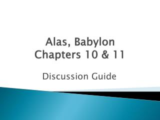 Alas, Babylon Chapters 10 & 11
