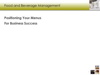 Food and  B everage  M anagement