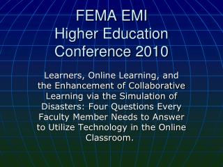 FEMA EMI Higher Education Conference  2010