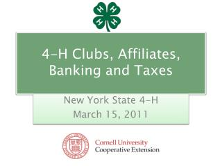 4-H Clubs, Affiliates, Banking and Taxes