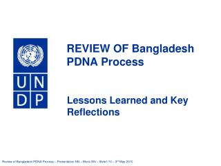 REVIEW OF Bangladesh  PDNA Process