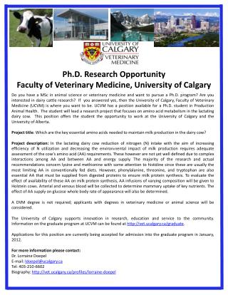 Ph.D. Research Opportunity Faculty of Veterinary Medicine, University of Calgary