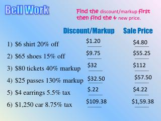 Find the  discount/markup  first        then find the &  new price.