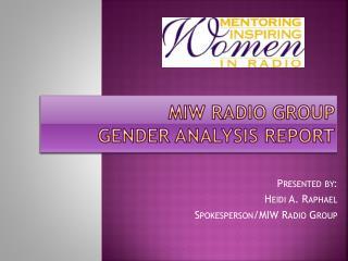 MIW Radio Group  Gender Analysis Report