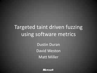Targeted taint driven fuzzing  using software metrics