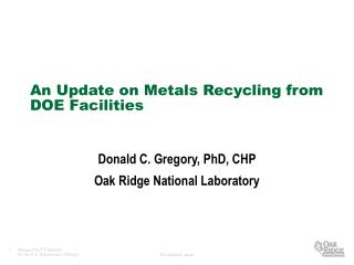 An Update on Metals Recycling from DOE Facilities