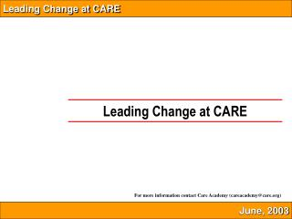 Leading Change at CARE