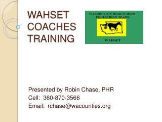 WAHSET  COACHES  TRAINING