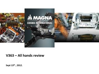 V363 – All hands review  Sept 13 th  , 2012.