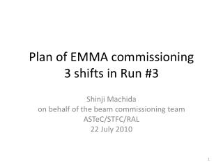 Plan of EMMA commissioning 3 shifts in Run #3