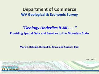 Department of Commerce WV Geological & Economic Survey