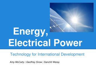 Energy, Electrical Power