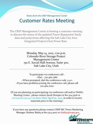 Notes from the CRSP Management Center Customer Rates Meeting
