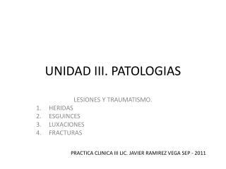 UNIDAD III. PATOLOGIAS