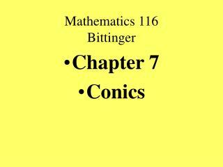Mathematics 116 Bittinger