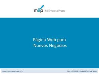 P ágina Web para  Nuevos Negocios