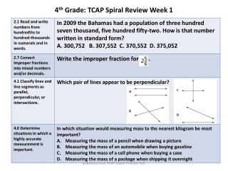 4 th  Grade: TCAP Spiral Review Week 1