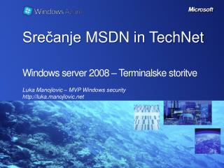 Windows server 2008 – Terminalske storitve