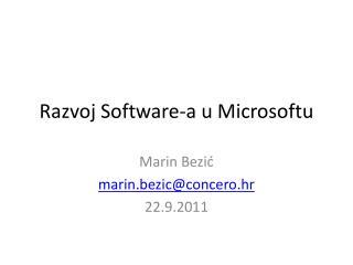 Razvoj  Software-a u  Microsoftu