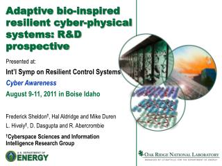 Adaptive bio-inspired resilient cyber-physical systems: R&D prospective