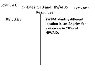 C-Notes: STD and HIV/AIDS Resources