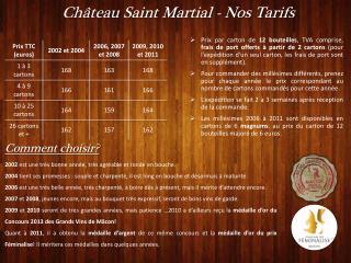 Château  Saint Martial - Nos Tarifs