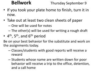 Bellwork Thursday September 9