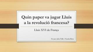 Quin paper va jugar Lluís a la revolució francesa?