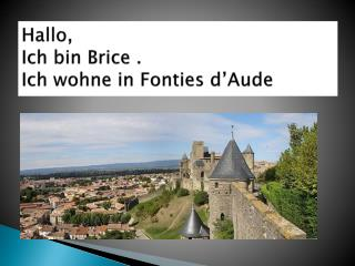 Hallo , Ich bin  Brice  . Ich wohne  in  Fonties  d'Aude