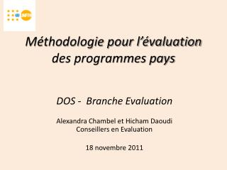 Méthodologie pour l'évaluation des programmes pays