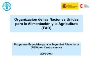 Programas Especiales para la Seguridad Alimentaria (PESA) en Centroamérica 2000-2013