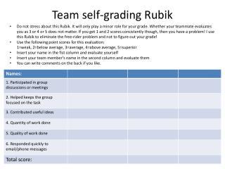 Team self-grading Rubik