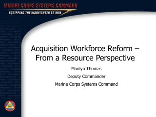 Acquisition Workforce Reform   From a Resource Perspective