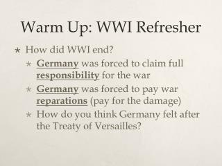 Warm Up: WWI Refresher