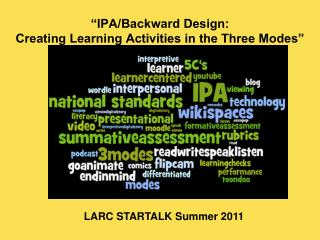 """IPA/Backward Design:  Creating Learning Activities in the Three Modes"""