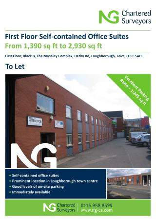 First Floor Self-contained Office Suites From 1,390 sq ft to 2,930 sq ft