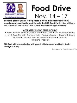 Food Drive Nov. 14 – 17