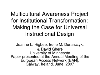 Universal Design Of Instruction: Diverse Student Populations