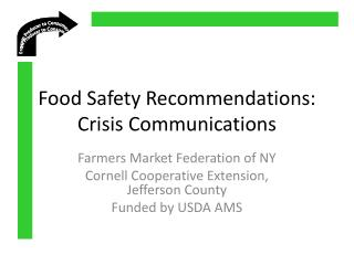Food Safety Recommendations: Crisis Communications
