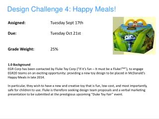 Design Challenge  4:  Happy Meals!