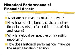 Historical Performance of Financial Assets