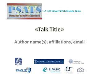 «Talk  Title »