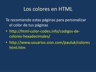 Los colores en HTML
