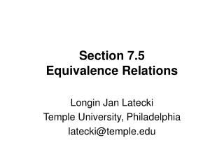 Section 7.5 Equivalence Relations